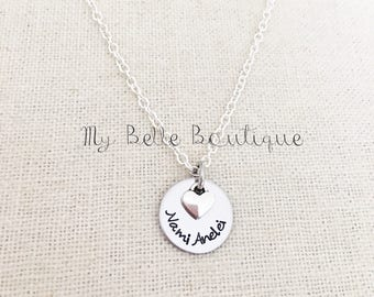 Personalized Hand Stamped Disc with Silver Tone Heart Charm - Necklace