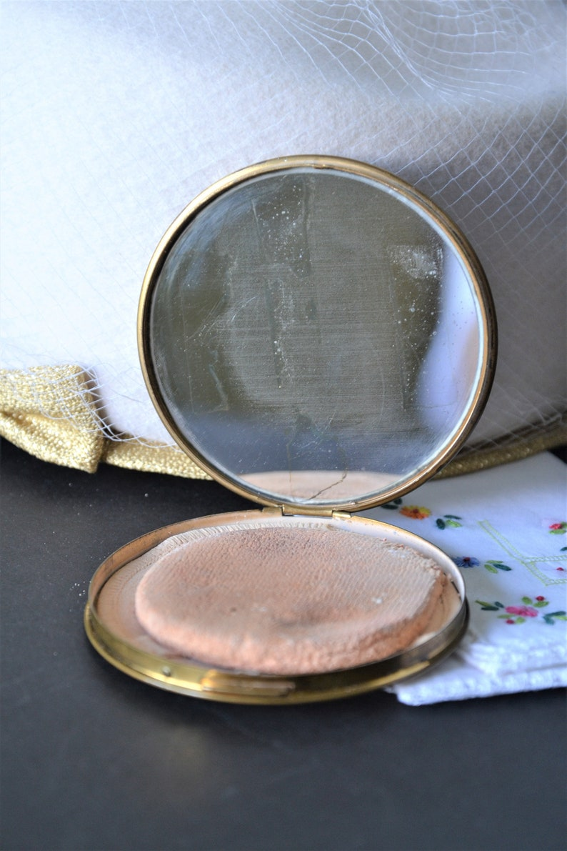 White Enamel Compact Army Officers Compact 1940s Military Compact