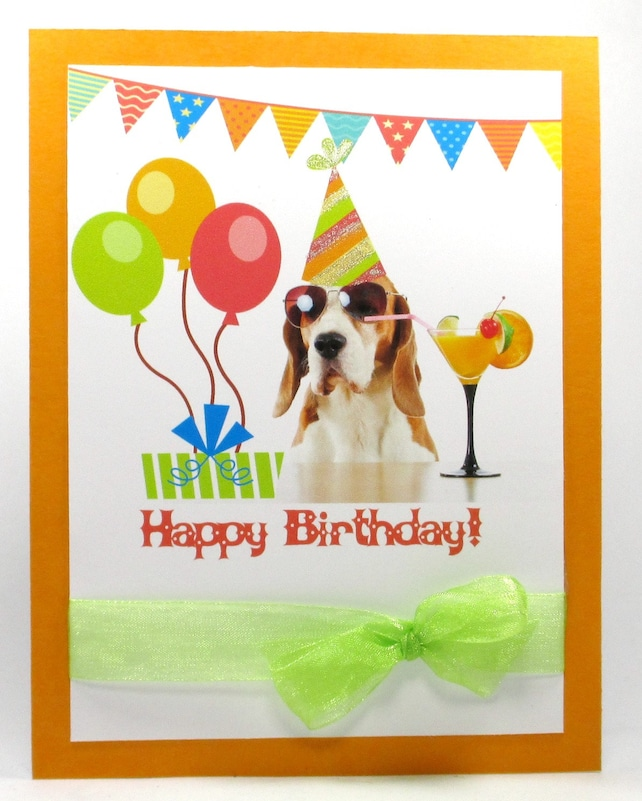 Birthday Card For Her Happy Cards Dog Funny Cute Cocktail Puppy