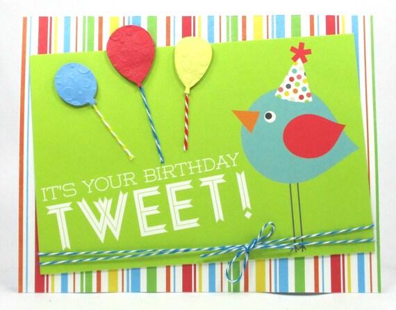 Birthday Card For Her Bird Tweet Birthday Card For Girl Etsy