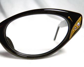 Black Cateye Glasses, Black and Gold Cat Eyeglasses 1950s Vintage eyewear with gold temple detail, New Old Stock Cateye Eyeglass Frames