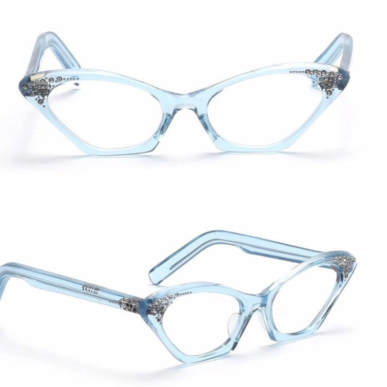 6dffe168e1 Vintage blue rhinestone cateye glasses 1950s winged