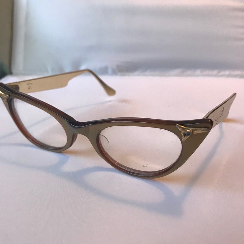b809574757d SALE Rose Gold Cateye Glasses Womens Vintage 1950s Brown Gold
