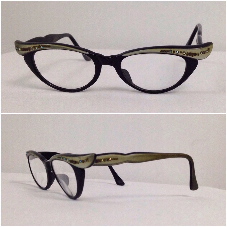 9c7f70a224 Black Winged Eyeglasses with rhinestone Temple Details