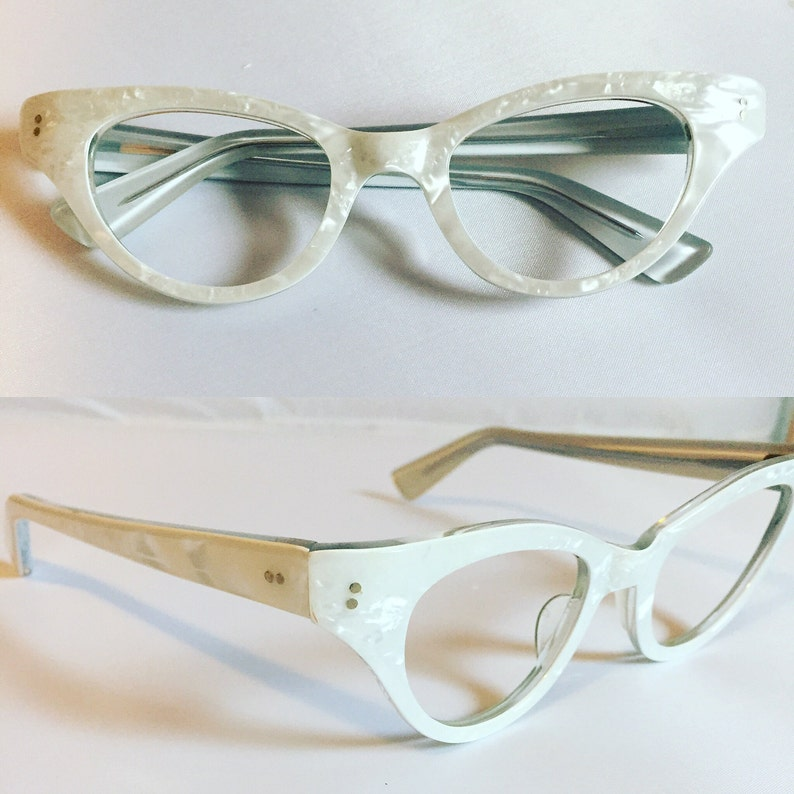 f79d5136171 White Eyeglasses Vintage 1960s Pearly White Cateye Glasses