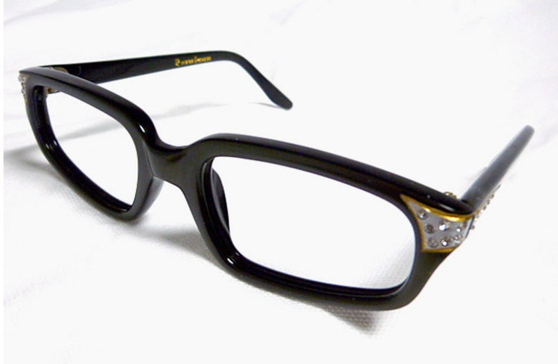 c740ed08a56 Vintage Eyeglasses Black Eyeglasses with Silver and Rhinestone