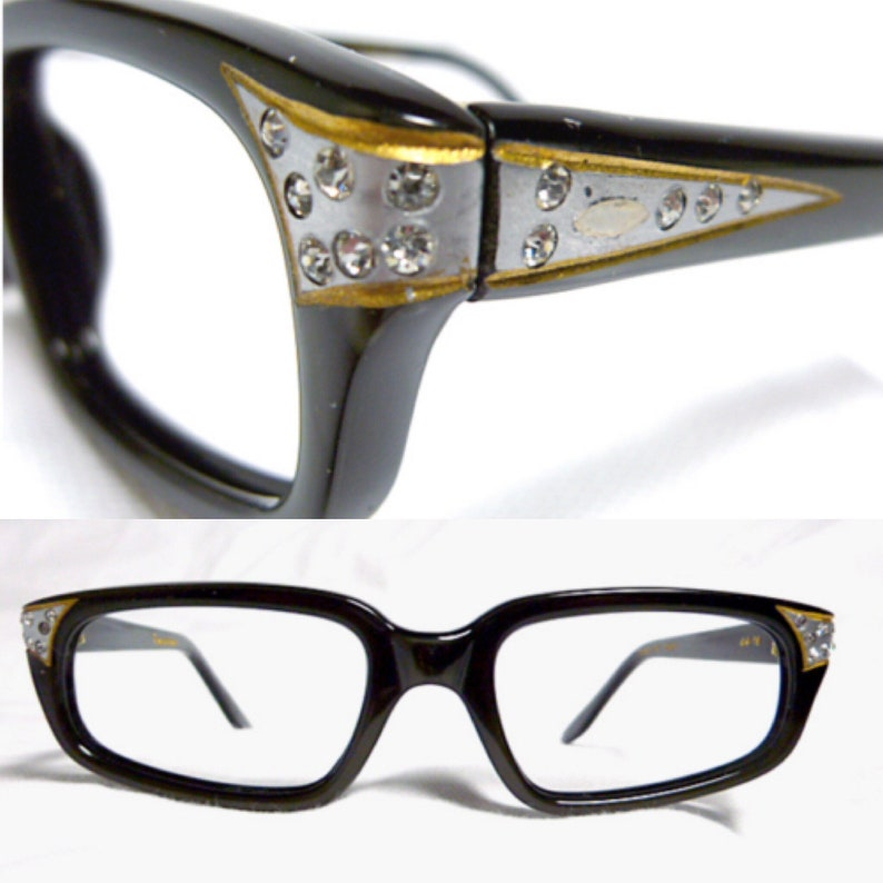 032653c653 Vintage Eyeglasses Black Eyeglasses with Silver and Rhinestone