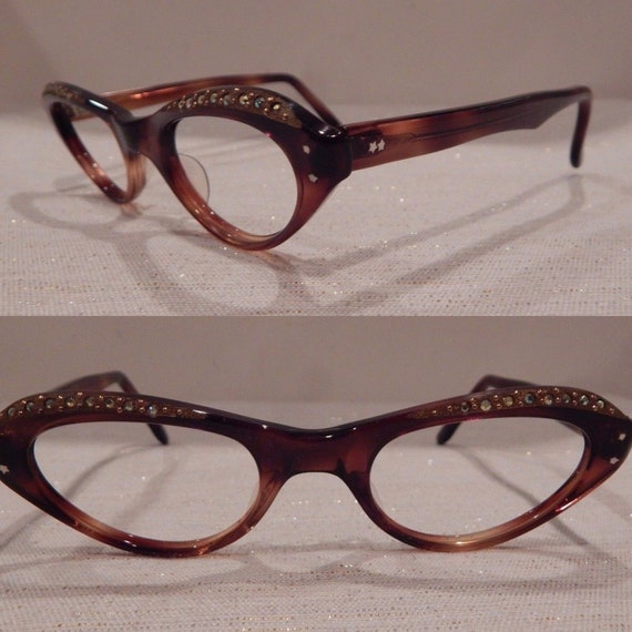 016b3a59d57 Vintage Swan Optical Jeweled Spring Tortoise 44 22 Eyeglass