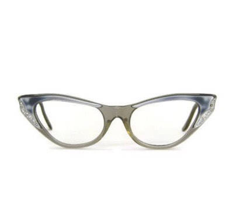 51888fd09e Gray Eyeglasses 1950s Glasses in Pearl Gray with Rhinestone