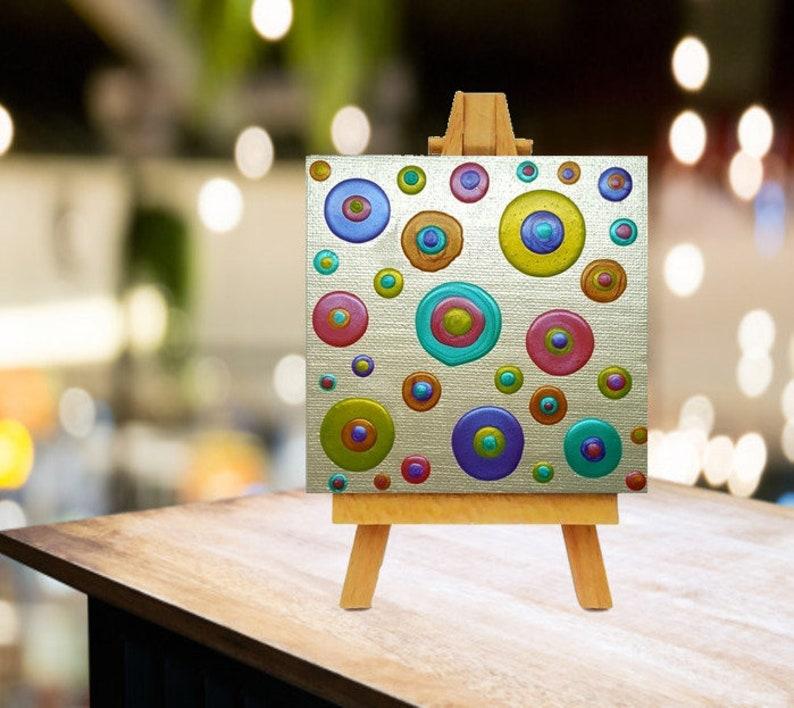 Metallic Rainbow Blob Dot Canvas Painting 4x4 Scale