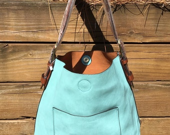 2 for 1 Cedar Handle Hobo Handbag Purse / Vegan Leather Hobo / Ocean Hobo Bag / Monogram