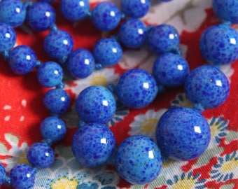 antique 1920s peking glass beads ART DECO flapper era hand knotted blue beaded necklace