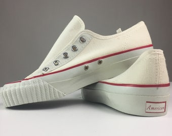 28e1c55f3d2f51 AMERICAN Rare Vtg 1950 s basketball low-Top Canvas Sneakers 3.5 mens 5.5  women made in USA