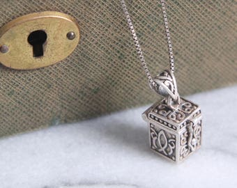 vintage sterling prayer box necklace silver chain hinged locket secret compartment