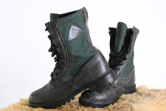 Rocky boots vintage hiking work military black lea