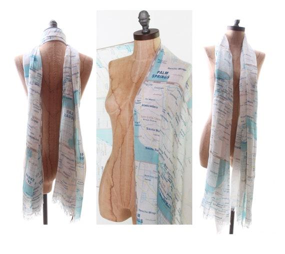 KATE SPADE scarf wrap shawl west coast map Palm S… - image 1