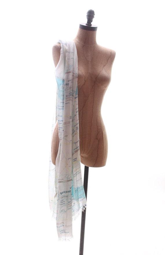KATE SPADE scarf wrap shawl west coast map Palm S… - image 6