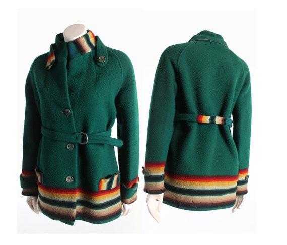 early 1900s PENDLETON wool trade blanket coat gree