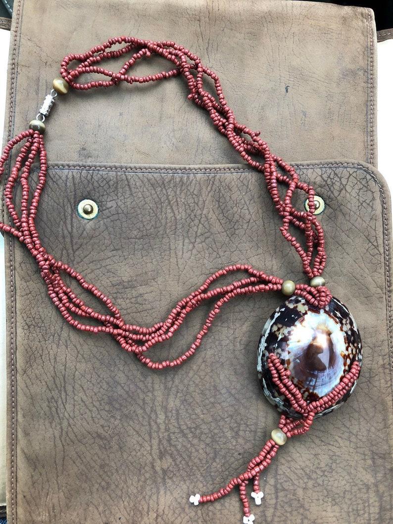 vintage Cowri sea shell necklace glass bead tropical tiki jewelry