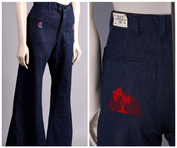 Vtg NOS ship military Navy denim blue jeans bell b