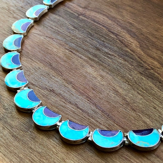Sterling Silver Turquoise Collar Necklace Modernist Gift For Her Turquoise Necklace Turquoise Jewellery Sterling Silver Minimalist