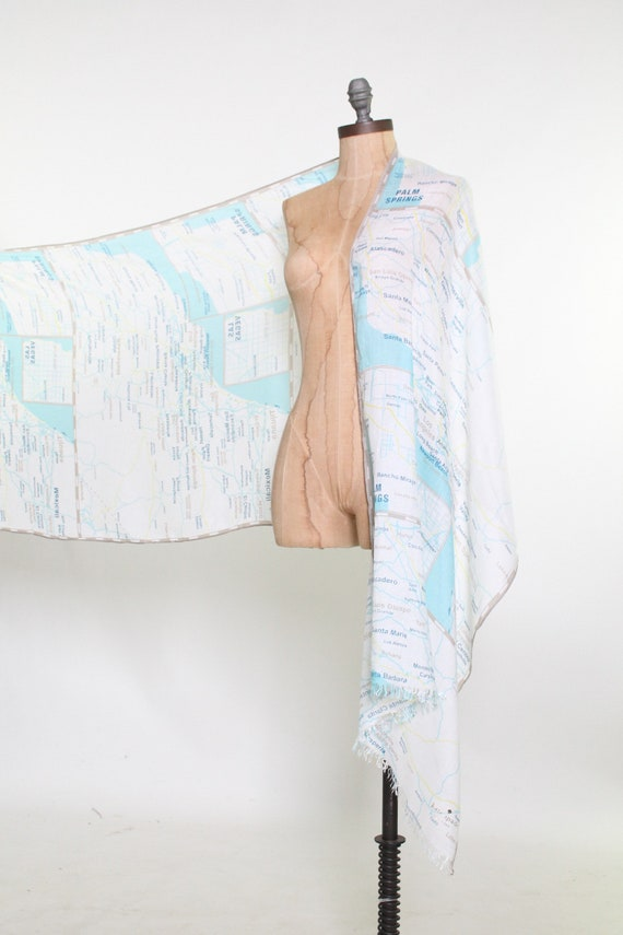 KATE SPADE scarf wrap shawl west coast map Palm S… - image 2