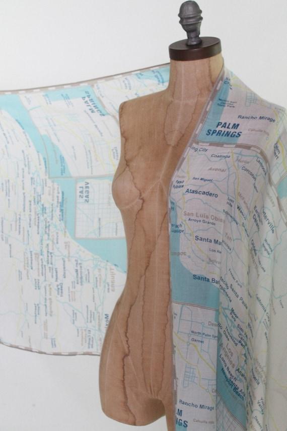 KATE SPADE scarf wrap shawl west coast map Palm S… - image 8