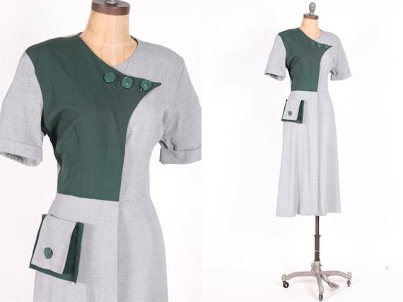 1940s vintage gabardine dress hunter loden green B