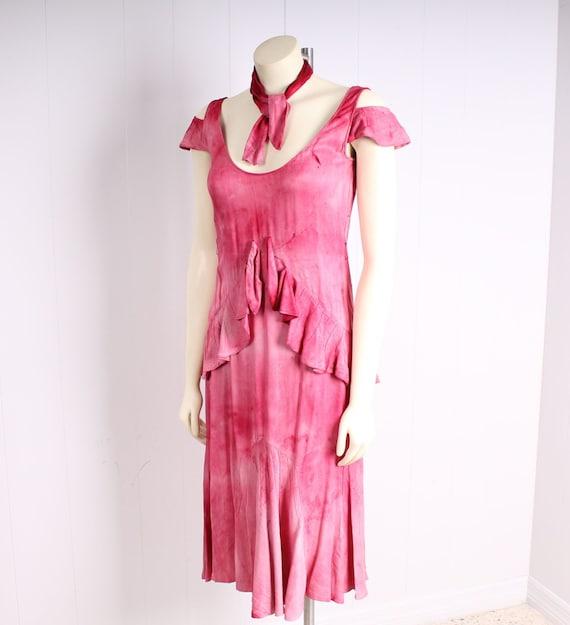 antique 1920s dress pink silk flapper vintage 193… - image 4