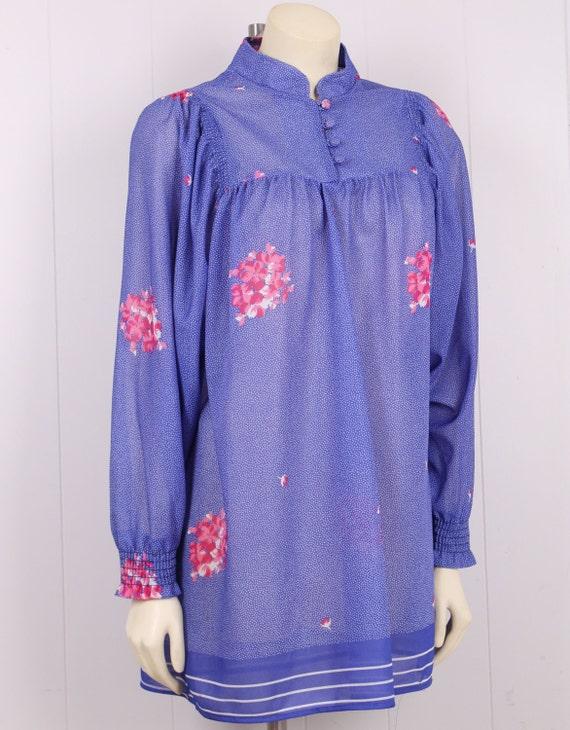 vintage sheer tunic blouse mini dress purple + pin