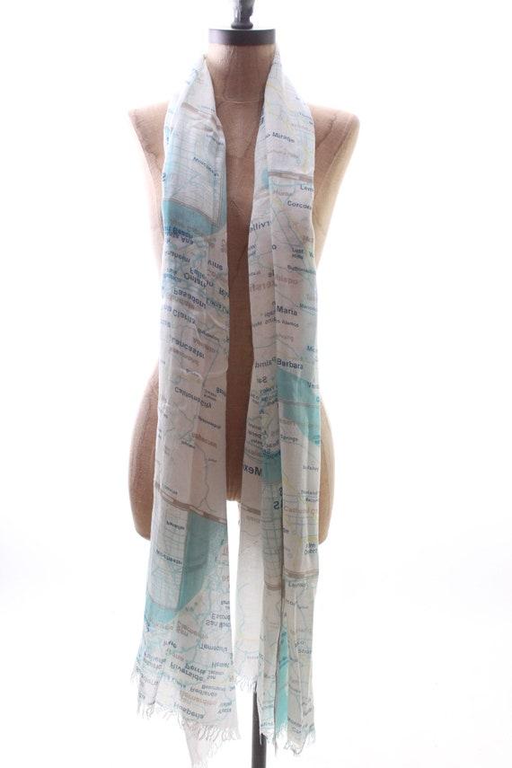 KATE SPADE scarf wrap shawl west coast map Palm S… - image 4