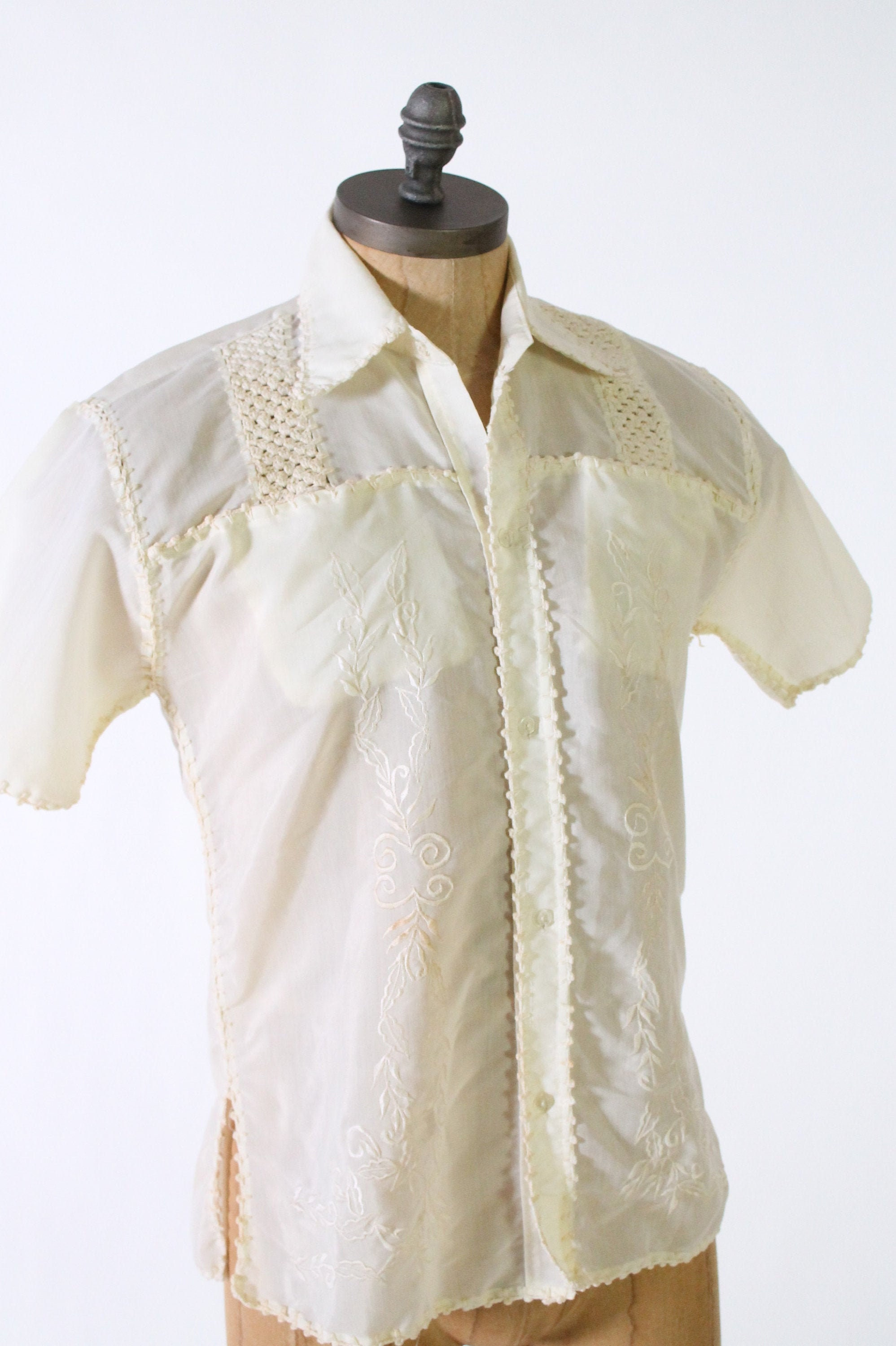 1960s – 70s Men's Ties | Skinny Ties, Slim Ties Guayabera Embroidered Shirt White Mexican Beach Wedding Vintage 1960S Mens Button Down $19.95 AT vintagedancer.com