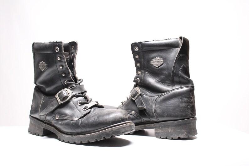 61db2835cb6 vintage Harley Davidson boots black leather lace up biker motorcycle combat  harness shoes Size 12