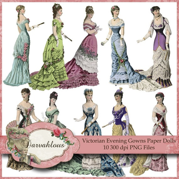Items similar to Victorian Evening Gown Paper Dolls - PNG Files ...