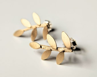 Branch Post Earrings, Large Brass Studs, Gold Leaf Earrings, Medium Brass Post, Under 100, Under 60, Botanical Gold Earrings, Botanical Stud