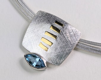 """Two Tone Necklace with Topaz, London Blue Topaz, Keumboo, 16"""", Marquis Cut"""