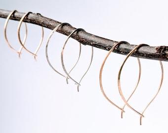 Leaf Hoop Earrings, 14 k Yellow or Rose Gold Fill or Sterling Silver Hoops,  Unique Shape Handmade Hammered Hoop Earrings