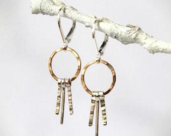 Two Tone Hoop Earrings, Fringe Earrings, Silver Lever Back , Small Hoop, Silver Gold Hoops, Hoops Leverback, Hammered Hoops, Under 100