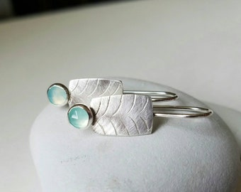 Glacier Earrings, Silver, Chalcedony