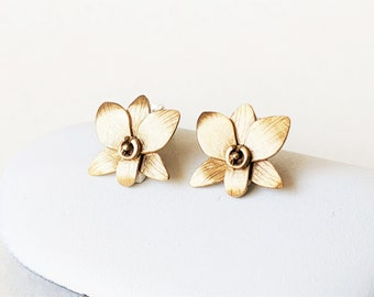 Orchid Flower Post Earrings, Brass or Silver Studs, Botanical Jewelry, Brushed Matte Finish, Nature Inspired Jewelry, Bridal Jewelry