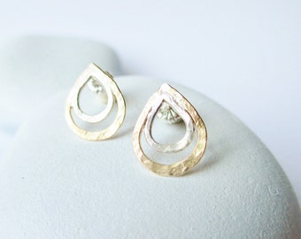 forged two tone drop post earring, mixed meta drop stud earring, silver and 14kt gold filled