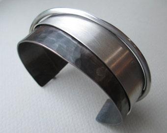 Copper and silver cuff bracelet