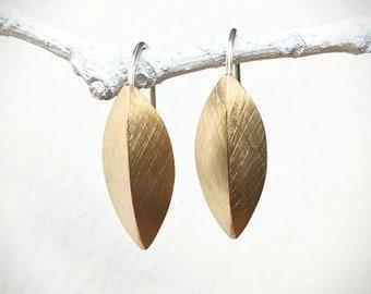 Brass Pod Earrings, Medium Sized Earring, Brushed Metal, 3D Leaf , Gold Earrings, Botanical Jewelry, Geometric Earrings, 3D Earring