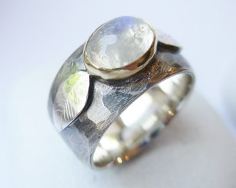 Bold Moonstone Ring oxidized with leaves