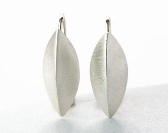 Seed Pod Earrings, Brushed Sterling Silver, Drop Earrings with Earwire, Three Dimentional Pod, 3D Leaf, Elegant Casual Classic, Drop Earring