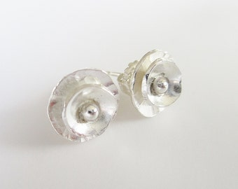 Silver post earring, forged, textured and layered