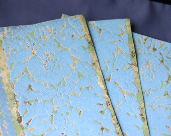 Vintage Flocked Wallpaper - 3 sheets 6 3\/4 x 10 inches