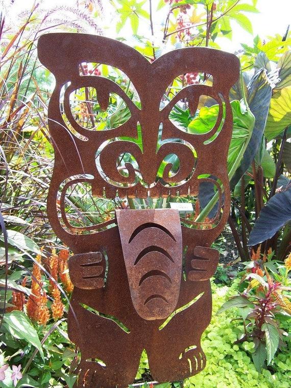 Tiki Statue Metal Tiki Outdoor Tiki Metal Garden Art Metal | Etsy