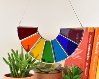 Rainbow Stained Glass Suncatcher   Rainbow Glass Window Hanging Gift and Ornament   Perfect Gift   Home decor   LGBTQ / Gay Pride