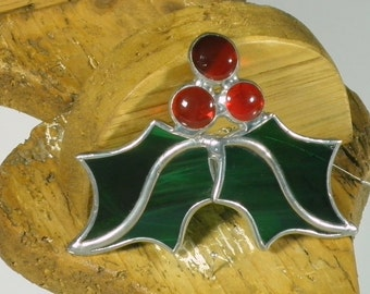 Small Holly Berry 3 D Stained glass suncatcher, Christmas tree ornament and window decoration